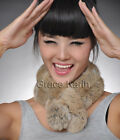 NEW Warm Real Rex Rabbit Fur Self-Tied Scarf Collar Neck Wrap Scarves Neck Cover
