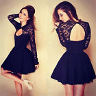 New Fashion Women's Elegant Dresses Long Sleeve Black Lace Dress Stitching Party