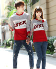 Women Men Long Sleeve Patchwork Casual Blouse Tops Lovers Couple Clothes T Shirt