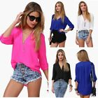 Sexy Fashion Women's Loose Casual Chiffon V-Neck Tops Long Sleeve T Shirt Blouse