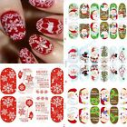 Nice Luminous Glow Full WRAPS Christmas Santa Nail Art Stickers Tips Xmas Gifts