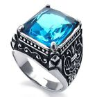 Jewerly Men's 316L Stainless Steel Titanium Blue Topaz Gem Casted Ring M071989