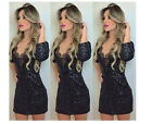 Sexy women long sleeve Slim stitching lace evening  Cocktail Party Dress prom
