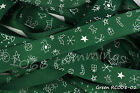 Reel Chic Ribbon Christmas Drawings on Green Grosgrain 19mm Wide RC08-02
