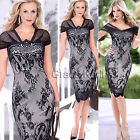 VINTAGE Women V-Neck Lace Pencil Evening Ball Formal elastic Dress Plus Size 2XL