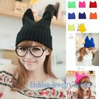 New 1pc  Lady Devil horns Cat Ear Crochet Braided Knit Ski Beanie Wool Hat Cap