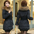 CHEAP SALE Women's Lady Down Jacket Long Coat Hooded Fur Collar HOOD Outerwear m