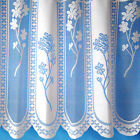 "Floral Panel White Net Curtain - SOLD BY THE METRE. In 9 Drops 36"" to 72"""