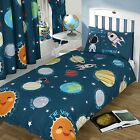 SOLAR SYSTEM SPACE BEDDING - SINGLE DOUBLE JUNIOR DUVET COVERS MATCHING CURTAINS