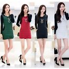 Women Autumn Winter Long Basic Thick T-shirt Shirt Tunic Dress Top with Necklace