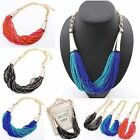 Women lady Bohemian Seed Beaded Bib Statement Necklace Chain Chunky Collar Party
