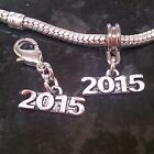 1 x 2015 New Year, New Baby, Anniversary, Wedding Charm European or Clip On
