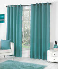 Sorbonne Plain Dyed Heavy Cotton Eyelet Ring Top Lined Curtains, Teal