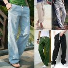 Cyber Monday  Mens Loose Causal Breathable Linen Pants Trousers Home Outer Dress