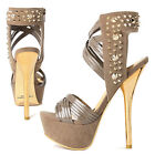 """TheMOGAN Spiky Gold STUDDED PLATFORM SANDALS Cocktail Strappy 6"""" High Heel Shoes"""