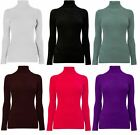 NEW Ladies Girls Ribbed Long Sleeve Stretch Cotton Polo Neck Top Jumper