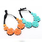 Occident Style Fashion Blue Roses Flower Bib Necklace Chain Statement Pendant