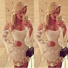 Trendy Women Sexy Off-Shoulder White Solid Lace Dress Vestidos Blouse Tops LJ