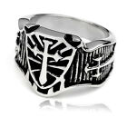 316 Stainless Steel Men's Ring Finger Fashion Carved Cross Knights US9-US13 New