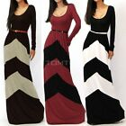 CHEVRON COLOR BLOCKED LONG SLEEVE EMPIRE WAISTED JERSEY MAXI DRESS TTDT