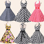 XMAS SALE   Vintage RETRO 50s Halter Cotton Rockabilly Swing Pin up Prom Dress