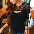 Sexy Slim Women Long Sleeve Lace Shirt Blouse Cocktail Top T-shirt Plus Size LJ