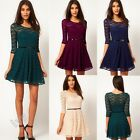 Women Sexy Long Sleeve Lace Mini Pleated Dress Party Evening Skater Swing Dress