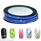 2/10/30 Blue Nail Art Metallic Hollographic Tape Foils Striping Decal Stickers