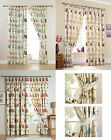 Kinsale Floral Cotton Face Lined Tape Top Curtain Drapes With FREE Tie Backs
