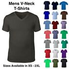 Mens V-Neck Plain T-Shirt  Short Sleeve Summer Gym Sport Top XS S M L XL 2XL