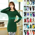 Womens Round Neck Long Sleeve Pullover Jumper Sweater Knitwear Stretch Dress Top
