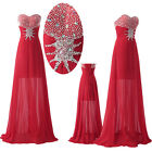 FREE SHIP High Low Formal Prom Bridesmaid Party Gown LONG Evening Dress RED 2-16