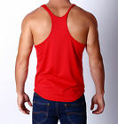 Mens DRI-FIT Y Back GymTraining Singlet Weight Bodybuilding StringerTank RED