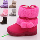 Warm Baby Kid Girls Toddler Infant Winter Snow Boots Fur Faux Shoes Zipper Up