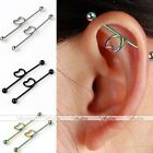 14Ga Pair Stainless Steel Industrial Twist Heart Bar Cartilage Earring Cool Punk