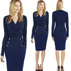Women autumn Long Sleeve button elegant formal office V neck Tunic Pinup Dress