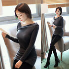 WOMENS LADIES LONG SLEEVE JUMPER DRESS MINI KNITTED STRETCHY BODYCON TUNIC XS~L