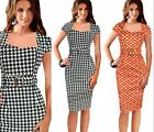 Womens stylish Tartan Check Tunic Cocktail Party Bodycon Pencil Dress Vestidos