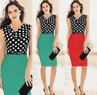 New women pencil polka dot splice above keen dress causal sleeveless Tunic