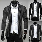 Fashion Mens Slim Fit Long Sleeve Sweater Tops Casual Striped Knitted Cardigan