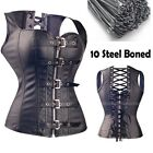 Sexy Steel Boned Corset And Basques Leather Steampunk Black Lingerie Plus Size