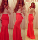 Red &White Lace Splicing Mermaid Gown Long Prom Party Bridesmaid Evening Dresses