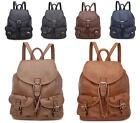 LADIES GIRLS NEW FAUX LEATHER VINTAGE RUCKSACK BACKPACK COLLEGE SCHOOL BAG