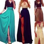Hot Women Sexy Party Medium Sleeve Lace Side Slit Ligature High Waist Long skirt