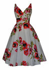 RETRO VINTAGE 50's STYLE COTTON IVORY POPPY BRIDESMAID PARTY TEA DRESS NEW 10-28