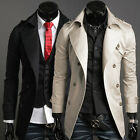 Designer Men's Long Double Breasted Pea Coat Jackets Trench Overcoat Parka Black