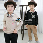 Spring Autumn Boys Child Baby Kids Plaid Neck Tie Collar T-shirt&Pants Sets 2-7Y