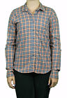 STEVEN ALAN Peach Charcoal Plaid Reverse Seam Button Down Shirt WST03CT NWT $158
