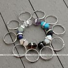 Hexagon Taper Gemstone Healing Point Beads Charms Adjustable Finger Ring us8.5