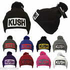 NEW *KUSH* BEANIE HAT PLAIN WOOLY WINTER CAP KNITTED WARM FITTED WOOLLY BOBBLE